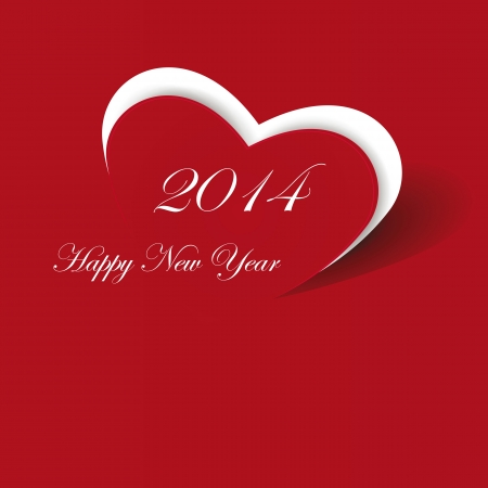 Cute and simple card on New Year 2014 Çizim