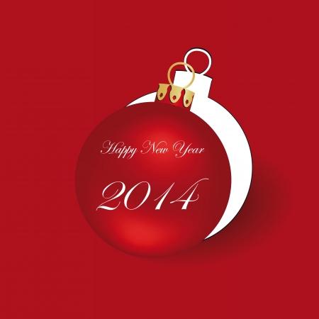 新しい年の 2014 年にかわいいとシンプルなカード