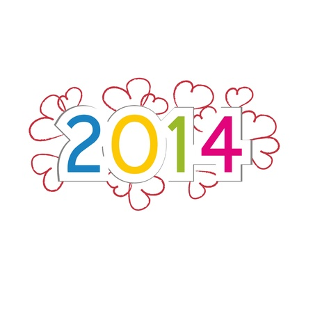 Cute and colorful card on New Year 2014 Stock Vector - 21316910
