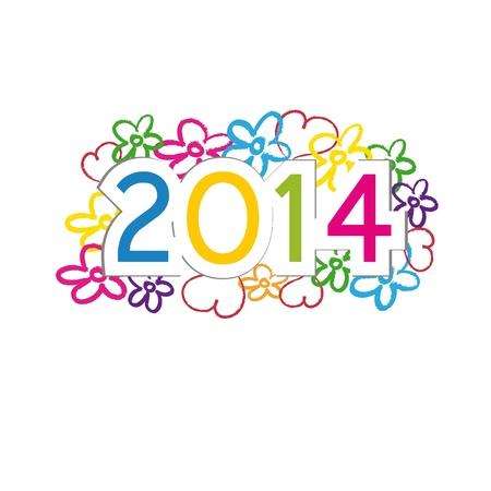 キュートでカラフルなカード新しい年 2014 年