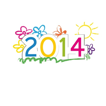 Cute and colorful card on New Year 2014 Stock Vector - 21316912