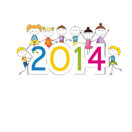Cute and colorful card 2014 with happy kids Illustration