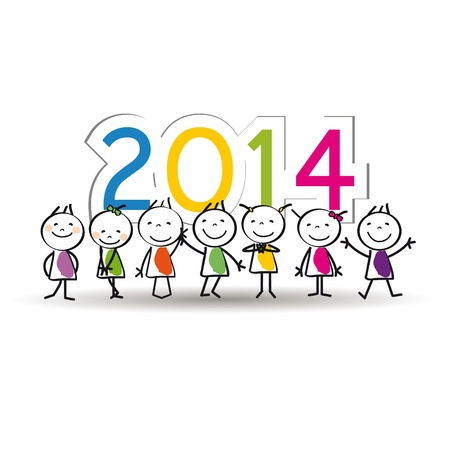 キュートでカラフルなカード新しい年 2014 年 写真素材 - 21316914