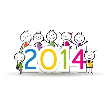 Cute and colorful card 2014 with happy kids Stock Vector - 21316915