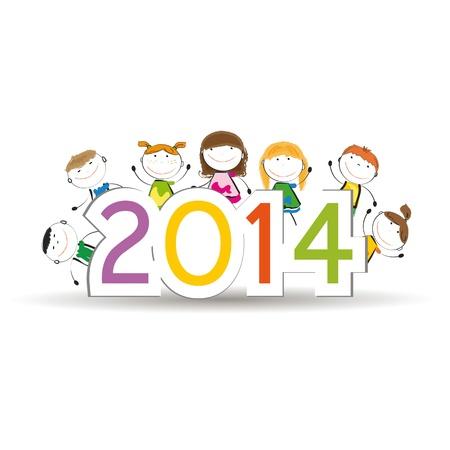 キュートでカラフルなカード新しい年 2014 年 写真素材 - 21316916