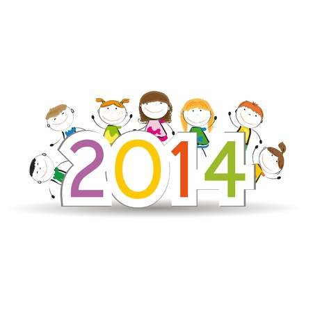 Cute and colorful card on New Year 2014