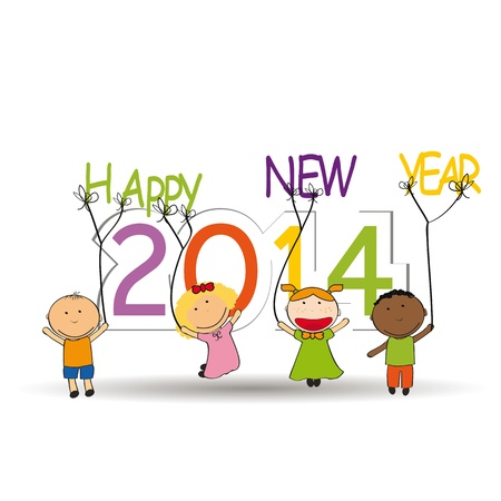 Cute and colorful card 2014 with happy kids Stock Vector - 21316917