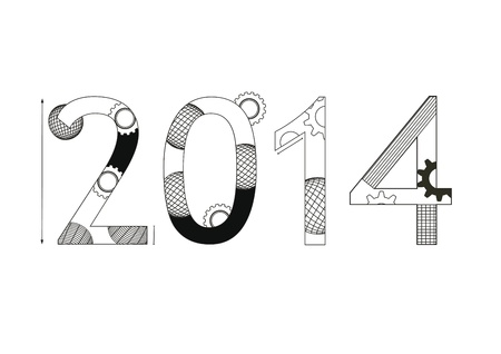 Cute and black - white card on New Year 2014 Stock Vector - 21600983