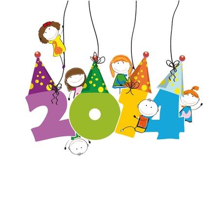 Leuke en kleurrijke kaart op Nieuwjaar 2014 Stockfoto - 21600985