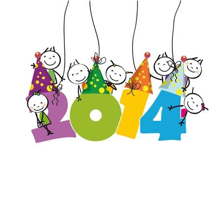Leuke en kleurrijke kaart op Nieuwjaar 2014 Stock Illustratie