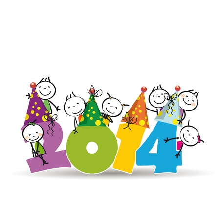 Cute and colorful card on New Year 2014 Vector