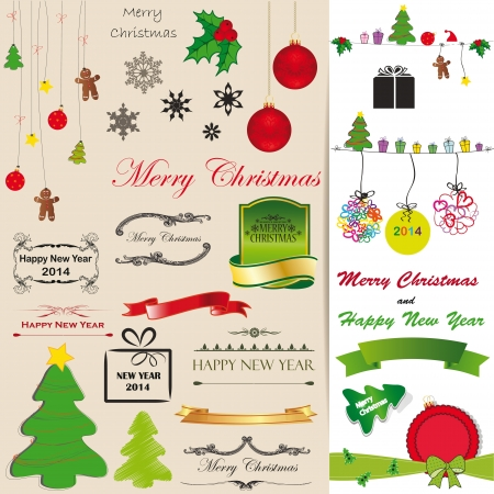 Green, red and black christmas card elements Stock Vector - 21600996