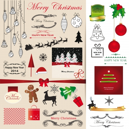 Green, red and black christmas card elements Stock Vector - 21600991