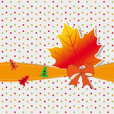 Cute autumn background with leaf and doodles Stock Vector - 21600992
