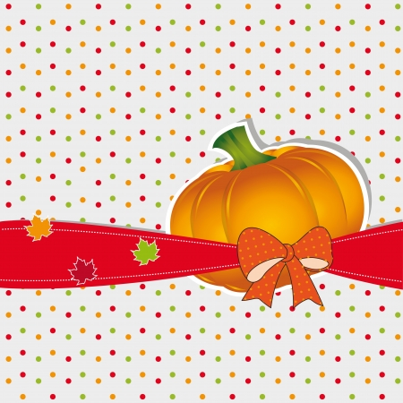 Cute autumn background with leaf and pumpkin Stock Vector - 21600993