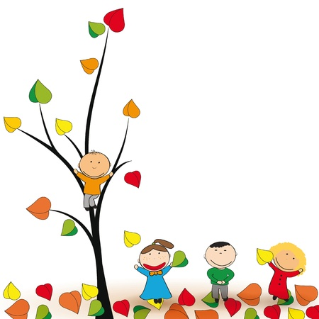 Cute and happy kids play in the autumn leaves