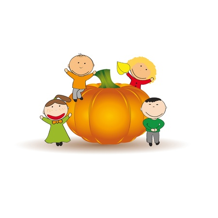 Cute and happy kids play a large pumpkin