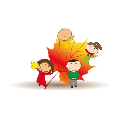 Cute and happy kids play in the autumn leaves Stock Vector - 21601000