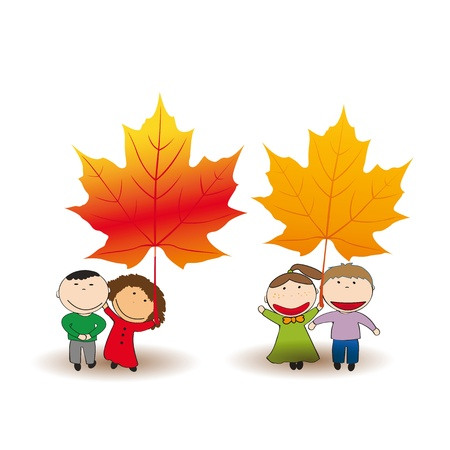 Cute and happy kids play in the autumn leaves Stock Vector - 21601001