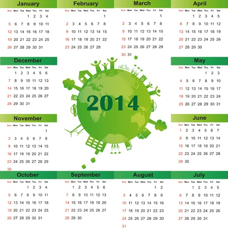 Cute and green calendar on 2014 year Stock Vector - 22125789