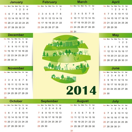 Cute and green calendar on 2014 year Stock Vector - 22125793