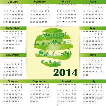 Cute and green calendar on 2014 year Stock Vector - 22125793