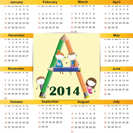 Cute and colorful calendar on 2014 year Stock Vector - 22125796