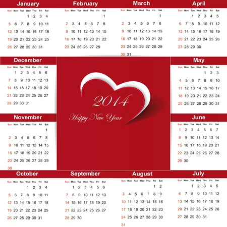 Cute and simple calendar on 2014 year