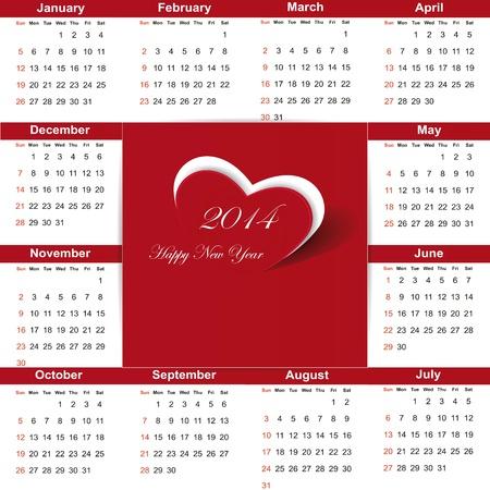 Cute and simple calendar on 2014 year