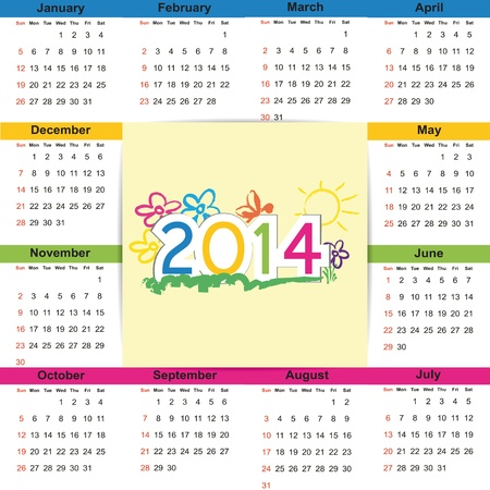Cute and colorful calendar on 2014 year Vector