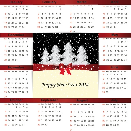 Cute and simple calendar on 2014 year Stock Vector - 22125846