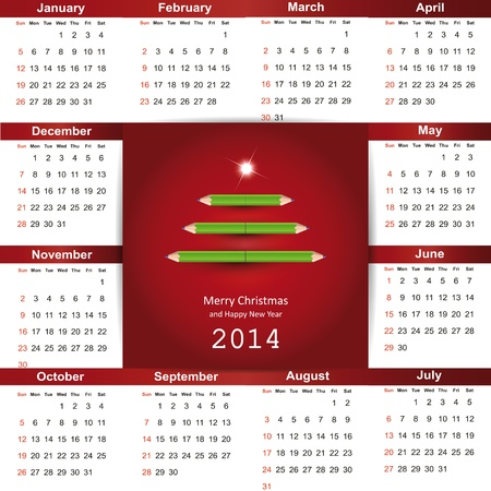 Cute and simple calendar on 2014 year Stock Vector - 22125847