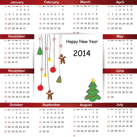 Cute and simple calendar on 2014 year Stock Vector - 22125848