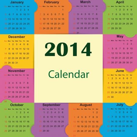 Cute and simple calendar on 2014 year Stock Vector - 22125849