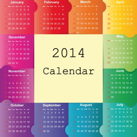 Cute and colorful calendar on 2014 year Stock Vector - 22125850