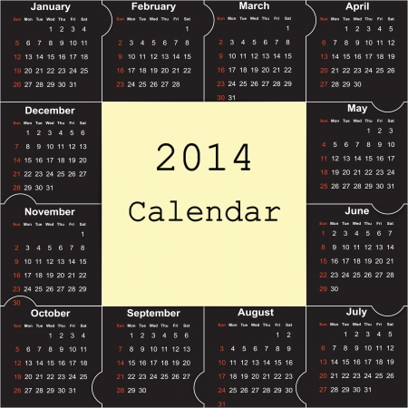 Cute and simple calendar on 2014 year Stock Vector - 22125851