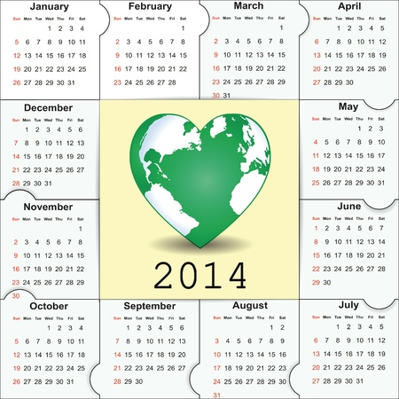 Cute and green calendar on 2014 year Stock Vector - 22125852
