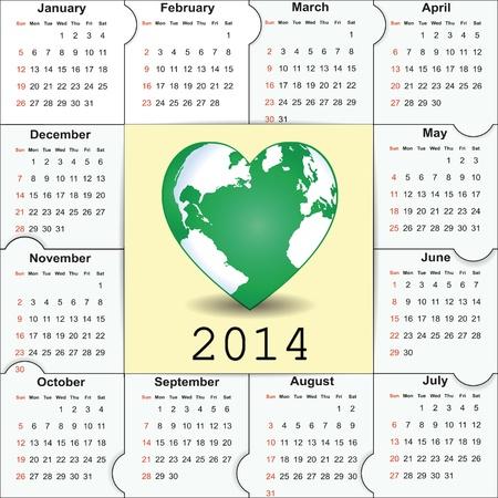 Cute and green calendar on 2014 year Stock Vector - 22125852