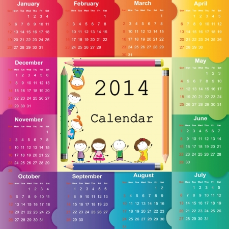 Cute and colorful calendar on 2014 year Çizim