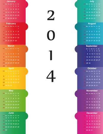 Cute and simple calendar on 2014 year Stock Vector - 22125882