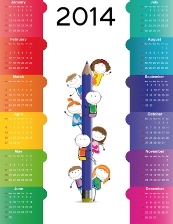 aug: Cute and colorful calendar on 2014 year Illustration