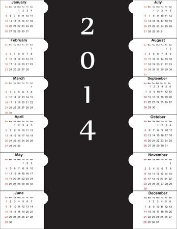 Cute and simple calendar on 2014 year Stock Vector - 22125884