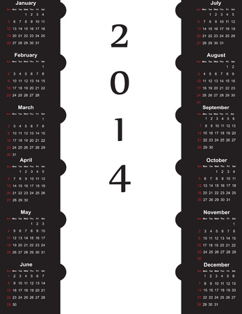 balck: Cute and simple calendar on 2014 year