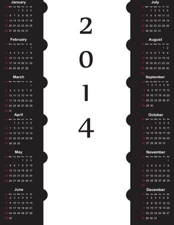 Leuke en eenvoudige kalender op 2014 jaar Stock Illustratie