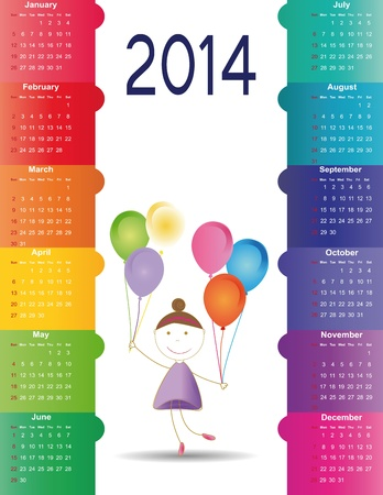 Cute and colorful calendar on 2014 year Stock Vector - 22125894