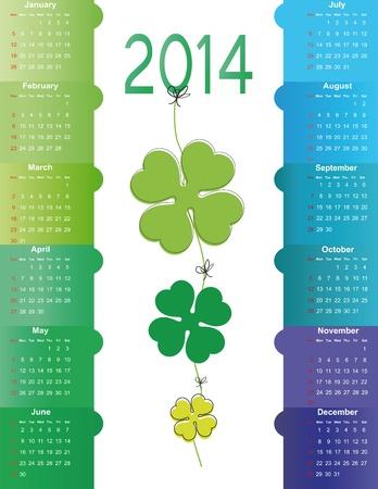 Cute and green calendar on 2014 year Stock Vector - 22125892
