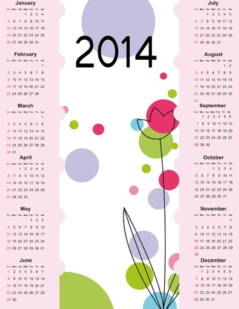 Cute and simple calendar on 2014 year Stock Vector - 22125914