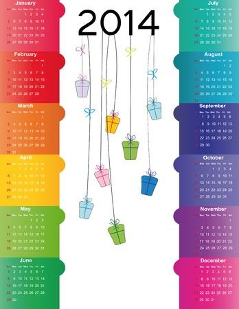 キュートでカラフルなカレンダー 2014 年
