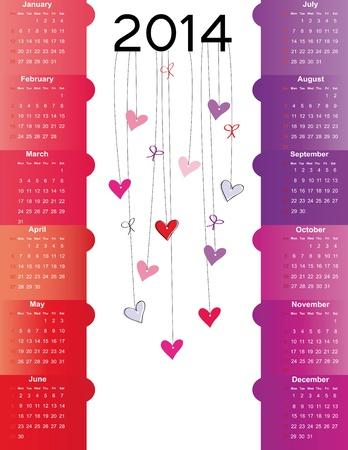 Cute and simple calendar on 2014 year Stock Vector - 22126739