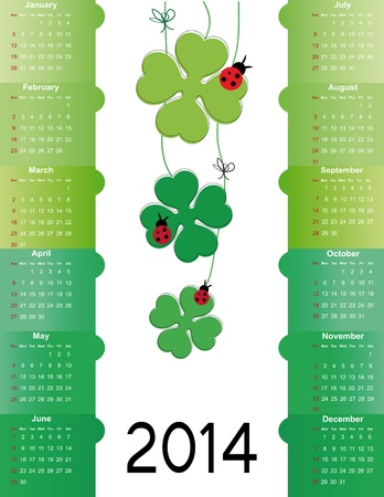 Cute and green calendar on 2014 year Stock Vector - 22126741
